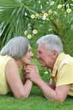 Dorośleć pary kłaść na trawie obraz stock