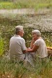 Dorośleć pary w parku Zdjęcia Royalty Free
