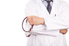 Dorośleć, ufny Azjatycki męski lekarz medycyny z stetoskopem, w Zdjęcie Royalty Free