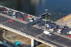 Dorogomilovskiy bridge on third transport ring Stock Photo
