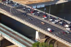 Dorogomilovskiy bridge on third transport ring Royalty Free Stock Photo