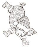 Dorosła kolorystyki książka, wzywa ślicznej dancingowej świni dla relaksować Zen sztuki stylu ilustracja Zdjęcia Royalty Free