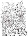 Dorosła kolorystyki książki strona z Ciężarną damą Brzemienność w doodle stylu Zdjęcie Royalty Free