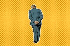 Dorosła mężczyzna pozycja z tylnym wystrzał sztuki retro tłem ilustracja wektor