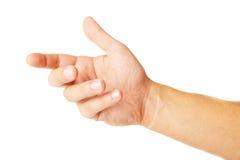 Dorosła mężczyzna ręka trzymać coś odizolowywający na bielu Zdjęcia Stock
