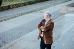 Dorosła osoba z szary włosiany eleganckim ubierającym outside Obraz Royalty Free