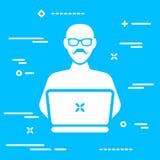 dorosła użytkownika lub seniora deweloperu oprogramowania pojęcia ikona na błękitnym bac royalty ilustracja