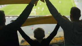 Dorosłego i dziecka futbolowi zwolennicy podnoszą scarves, akcesorium dla prawdziwych świetlicowych fan zdjęcie wideo