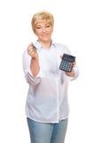 dorosłego kalkulatora kluczowa uśmiechnięta kobieta Obraz Stock