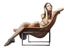 dorosłego krzesła słuchający musi target2117_1_ potomstwa Zdjęcie Royalty Free