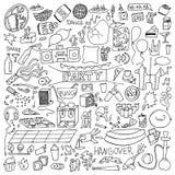 Dorosłego przyjęcia Doodle set royalty ilustracja