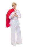 dorosłej kurtki czerwona uśmiechnięta kobieta Zdjęcie Stock
