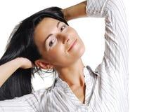 dorosłej pięknej brunetki w połowie portreta kobieta Obraz Royalty Free