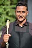 Dorosłej samiec Cook Z łyżką Lub szef kuchni zdjęcie royalty free