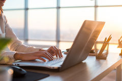 Dorosły bizneswoman pracuje w domu na komputeru osobistego ekranu linii używać komputer, studiuje biznesowych pomysły Obrazy Royalty Free