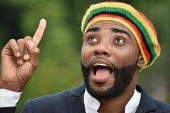 Dorosły Czarny Jamajski mężczyzna Ma pomysł obraz royalty free