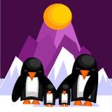 dorosłych tła błękitny kurczątek rodziny ramy pingwinu pingwiny dwa Zdjęcia Royalty Free