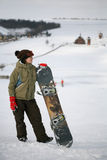 dorosłej kobiety snowboarder potomstwa Obrazy Royalty Free