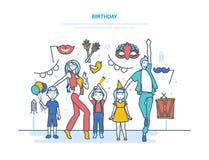 Dorosli i dzieci postać z kreskówki świętują wydarzenie z urodziny ilustracja wektor
