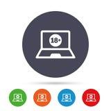 Dorosli zadawalają laptop ikonę Strona internetowa dla dorosłych ilustracji
