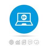 Dorosli zadawalają laptop ikonę Strona internetowa dla dorosłych royalty ilustracja