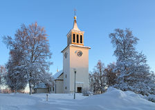 Dorotea Kirche im Winter, Schweden Stockfotografie