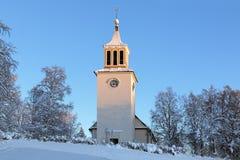 Dorotea Kirche im Winter, Schweden Stockbild