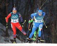Dorothea Wierer de Italia número 69 compite en individuo del ` s el 15km de las mujeres del biathlon en los juegos 2018 de olimpi Foto de archivo