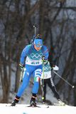 Dorothea Wierer of Italy competes in biathlon Women`s 15km Individual at the 2018 Winter Olympic Games Stock Photography