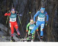 Dorothea Wierer of Italy number 69 competes in biathlon Women`s 15km Individual at the 2018 Winter Olympic Games Stock Image