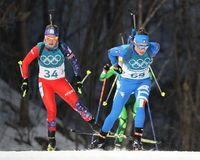 Dorothea Wierer Włochy liczba 69 współzawodniczy w biathlon kobiet ` s 15km jednostce przy 2018 zim olimpiadami Zdjęcie Stock