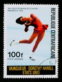 Dorothy Hamill - USA, Olympic Games in Innsbruck serie, circa 1976. MOSCOW, RUSSIA - AUGUST 29, 2017: A stamp printed in Central African republic shows Dorothy Stock Photo