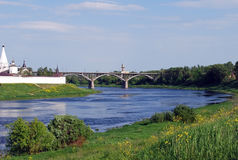 Dorozhny Bridge through the Volga River near the Uspensky monastery in the city of Staritsa. Tver region. Stock Image