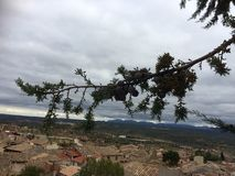 Dorp achter de tak van een boom stock foto