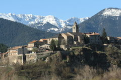 Dorp in Catalonië, de Pyreneeën Stock Foto's