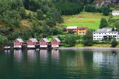 Het dorp van Europa in fjord Stock Foto's