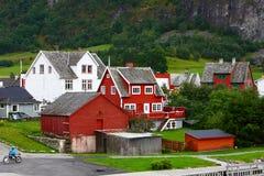 Het dorp van Europa in fjord Stock Foto