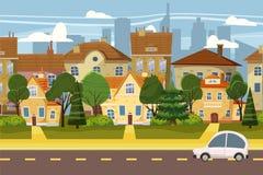 Dorp in de voorsteden van grote stad, bomen, weg, hemel en wolken Onroerende goederen, verkoop en huurhuis, herenhuis Echt platte royalty-vrije illustratie