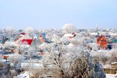Dorp in een sneeuw Royalty-vrije Stock Foto's