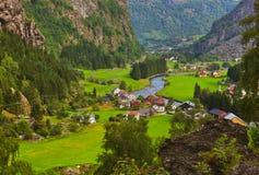 Dorp in Flam - Noorwegen Stock Foto's