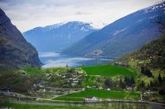 Dorp in Flam - Noorwegen - aard en reisachtergrond Royalty-vrije Stock Foto's