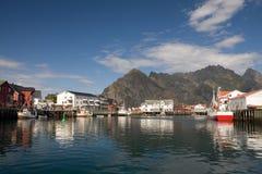 Dorp Henningsvaer, Noorwegen 2 Stock Foto