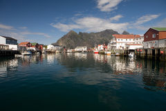 Dorp Henningsvaer, Noorwegen Stock Fotografie