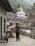 Dorp in het Himalayagebergte Stock Foto
