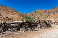 Dorp in het Simien-Bergen Nationale Park in Noordelijk Ethiopi? stock afbeelding