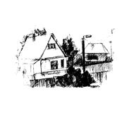 Dorp, illustratie Royalty-vrije Stock Fotografie