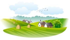 Dorp. Landbouw Stock Afbeeldingen