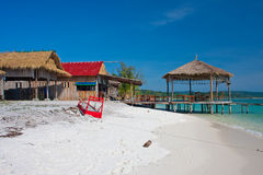 Dorp in Long Beach Koh Rong Cambodia Stock Afbeelding
