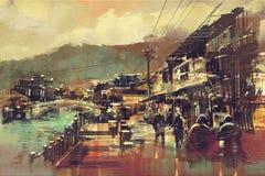 Dorp met een brug en oude gebouwen stock illustratie