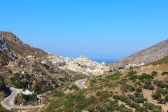 Dorp Olympos op Karpathos Stock Afbeeldingen